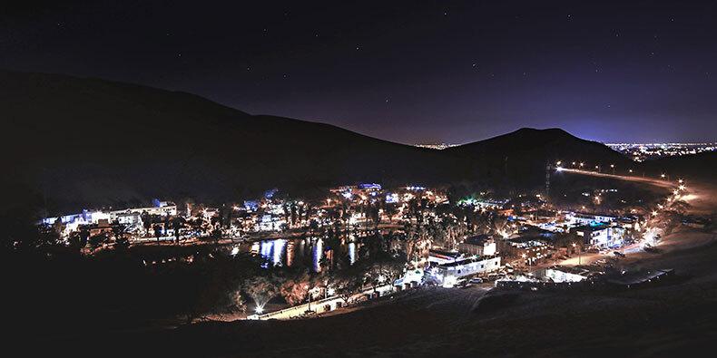 night in huacachina